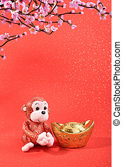 Chinese lunar new year ornaments toy of monkey on festive...