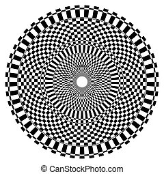 Abstract radial, circular element with checkered surface
