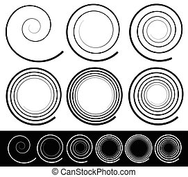 Set of 6 abstract spiral element. Vector.
