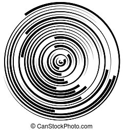 Swirly concentric, segmented circles Abstract vector...