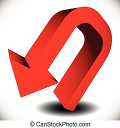 3d red, curved arrow with shadow pointing backward
