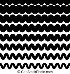 Horizontal zigzag or wavy lines monochrome pattern...