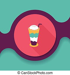 iced floating coffee flat icon with long shadow,eps10