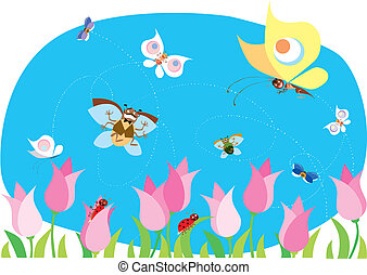 Spring bugs - Bugs enjoy of spring