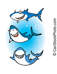 Three happy sharks - Cartoon of three funny sharks