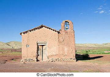 Old adobe church in the countryside of Bolivia.