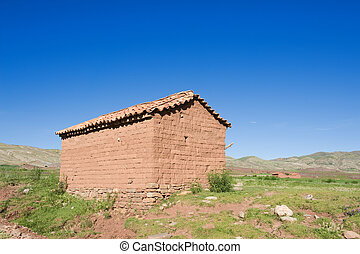 Adobe house, Bolivia. - Adobe house in the countryside of...