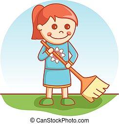 Girl sweeping doodle