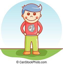 Boy standing doodle cartoon vector