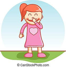 girl laughing doodle cartoon vector