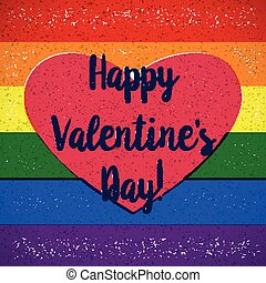 Rainbow gay themed Valentines Day card with shifted colors -...