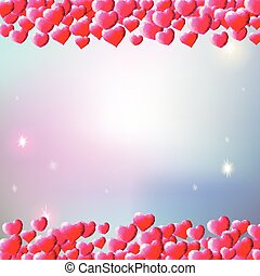 Valentines Day background with scattered gem hearts -...