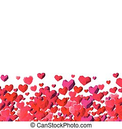 Valentines Day background with scattered triangle hearts -...