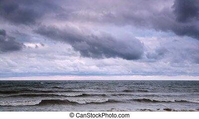 Lake Erie Stormy Surf Loop - Waves roll in and crash on the...