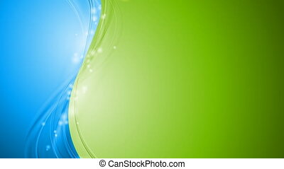 Bright green and blue shiny waves video animation - Bright...