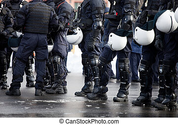 Riot Police unit waiting for orders
