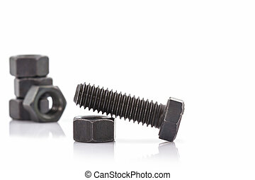 Closeup metal screw, bolt and metal nuts - Closeup metal...