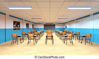 Classroom - 3D CG rendering of a classroom