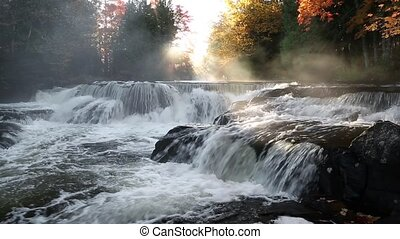 Bond Falls Autumn Mist Loop - Loop features whitewater...