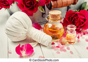 Aromatic Massage Oil - Massage oil and rose essential oil,...