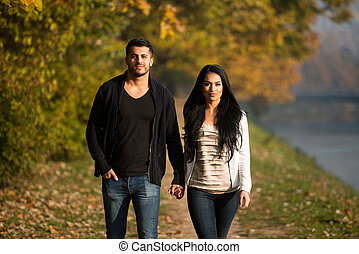 Couple Holding Hands And Walking In The Woods - Couple...