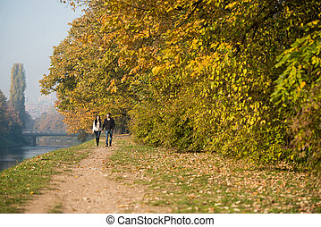 Couple In Autumn Park - Couple Walking In Forest Through The...