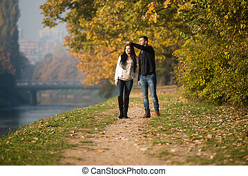 Young Couple Walking In Autumn Forest - Couple Walking In...