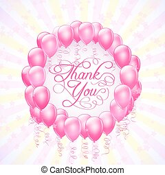 frame with balloons and stars thank you background. vector