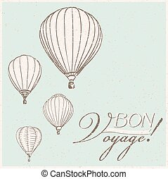 vintage hot air balloons bon voyage background. vector