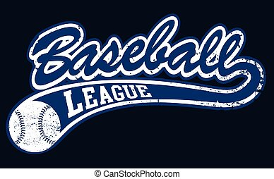 Blue baseball league banner with ball