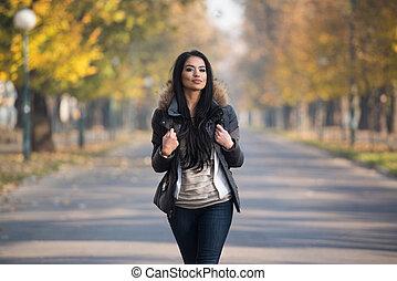 madeiras, andar, mulher, atraente