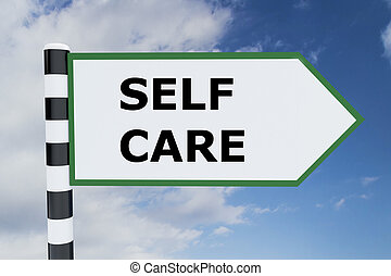 Self Care concept - Render illustration of Self Care title...