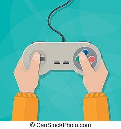 Hands holding gamepad - Hands holding wired old school...