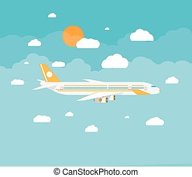 picture of a civilian plane with clouds and sun. vector...