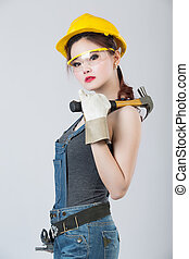 Sexy female construction worker - Sexy asian female...
