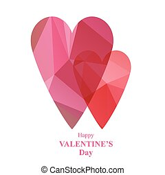two pink polygonal hearts