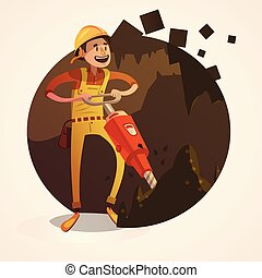 Mining concept illustration - Mining concept with labor...