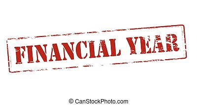 Financial year - Rubber stamp with text financial year...
