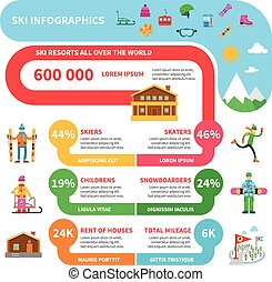 Winter sport infographics set with ski skates snowboard...