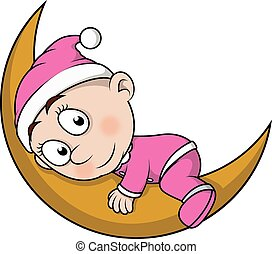 Baby sleep on moon cartoon illustration