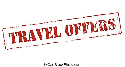 Travel offers - Rubber stamp with text travel offers inside,...