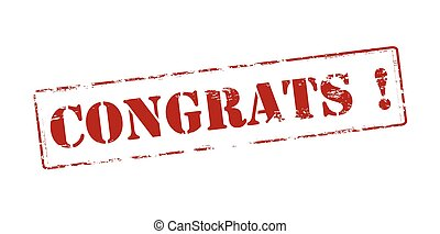 Congrats - Rubber stamp with word congrats inside, vector...