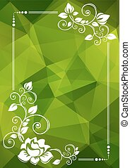 green floral border - Abstract floral border on a green...