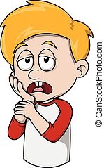 Boy tooth ache cartoon illustration