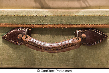 Tatty Suitcase Handle - Worn Leather Handle on Old Suitcase