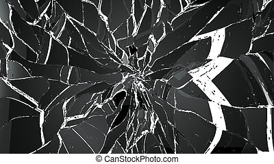 Pieces of glass splitted or cracked on white Large...