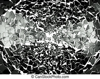 Pieces of splitted or broken glass on white. Large...
