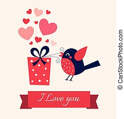 Valentine's day illustration with birds  and hearts and text