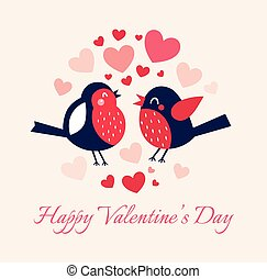Valentine's day illustration with birds  and hearts