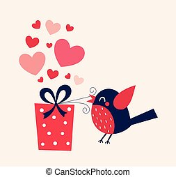 Valentine's day illustration with bird and gift box